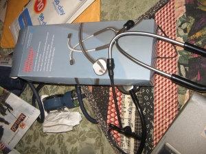 putting together the microphone<br /><br /><br /><br /> and the stethoscope